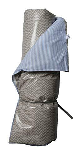 AU Maison Picknickdecke 140x180 Streifen Blau Weiß/Infinity Toffee Braun