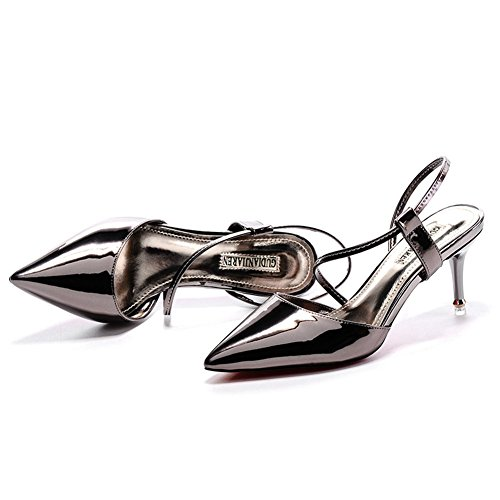 Moderne Damen Sexy Geschlossene Spitze Stiletto Schmale Ferse super Hoch Klettverschluss Lässige Schuhe Sandalen Pumps Kupfer