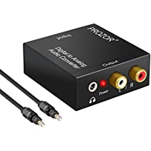 PROZOR DAC001 -  Convertidor Digital Analógico Audio Óptico Coaxial (RCA) Toslink SPDIF de Audio Estéreo R / L-PS3 XBox HD, DVD, PS4 ,Sky HD, de Blu-ray, Home Cinema Amplificadores, AV,  Apple TV