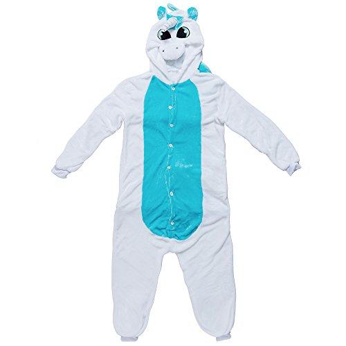 Katara 1744 - Einhorn Einteiler Kostüm-Anzug Onesie/Jumpsuit, viele verschiedene Tiere, blau/weiß (Disney Schlafanzug Erwachsene)