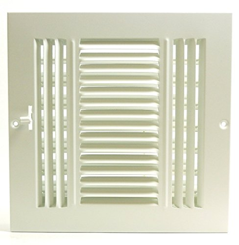 15,2x 10,2cm 3-Wege-Air Supply Gitter-Duct Cover & haltesystems-flach Prägung Face-Weiß (Cover Duct Wand-vent)