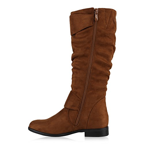 Stiefelparadies Klassische Gefütterte Stiefel Damen Schuhe Veloursleder-Optik Winterschuhe Schnallen Blockabsatz Winter Boots Flandell Hellbraun Avion