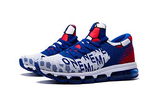 Onemix Herren Mid-Top Air Luftkissen Laufschuhe Turnschuhe Straßenlaufschuhe Sneaker Sportschuhe Blau Weiss