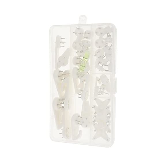 Baoblaze Segolike 40 Pieces/Set A Box Of Home Picture Photo Frame Hanging Hooks Seamless Invisible Nail Hangers White