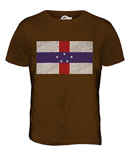 CandyMix Niederländische Antillen Kritzelte Flagge Herren T Shirt Braun