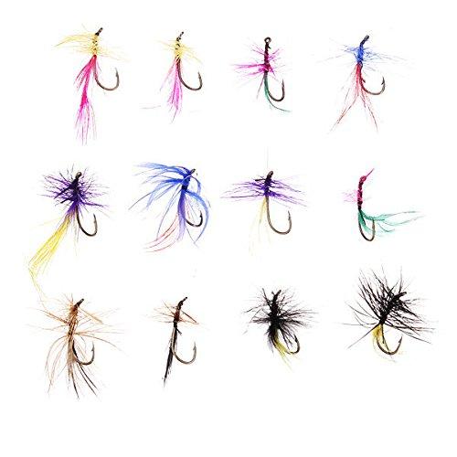 Bazaar 12 Stück Fly Fishing Bass Lure Packs Flies (farbig sortiert)