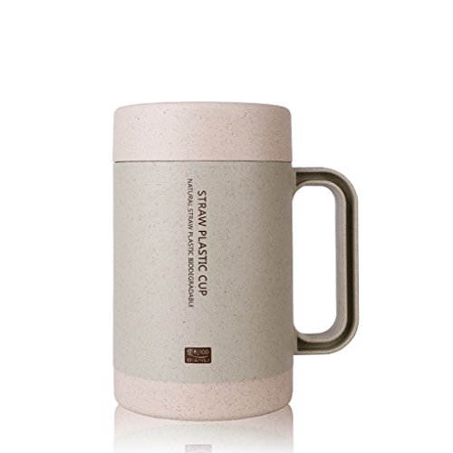 QHGstore 350ML coreano Eco-Friendly Double-Deck Cup grano fibra di paglia
