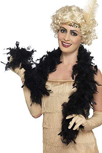 Smiffy's- Miffy Boa, 50g, Negra, Pluma, 150cm, Color (30864)