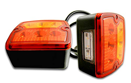 2 luci posteriori a LED da 12 V e 24 V, indicatori di freno, targa, camion, rimorchio, cavalli, camper, roulotte, camper, pickup, furgo