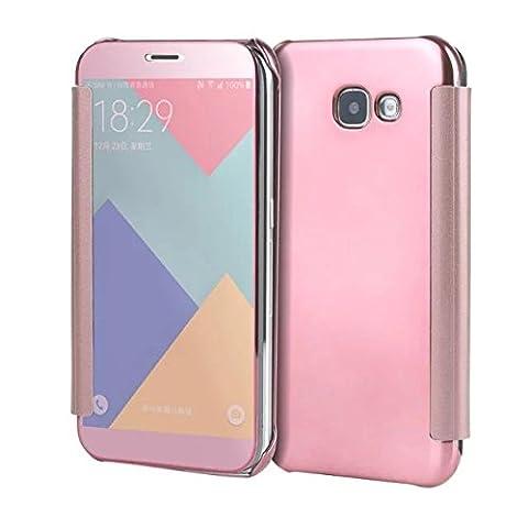 Meimeiwu Miroir Case Coque Housse Flip Cover - Etui Mince Clear Housse de Protection pour Samsung Galaxy A5 2017 - Rose Or