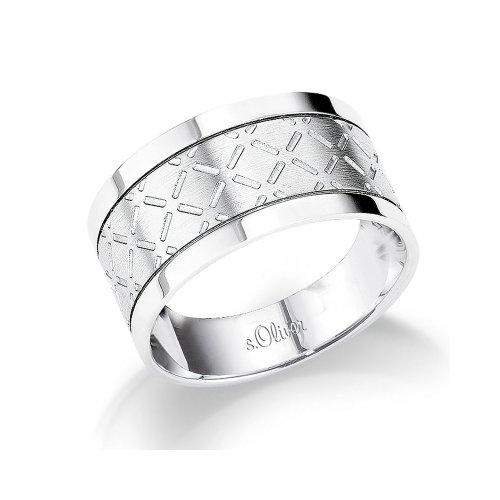 s.Oliver Herren-Ring Edelstahl Gr. 66 375412 (Diamant-hochzeit Ringe Silber Herren)