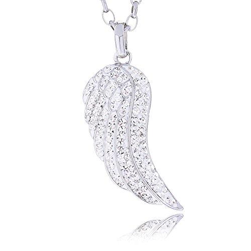 Morella Damen Halskette Edelstahl 70 cm mit Flügel Anhänger mit Zirkoniasteinen in Schmuckbeutel