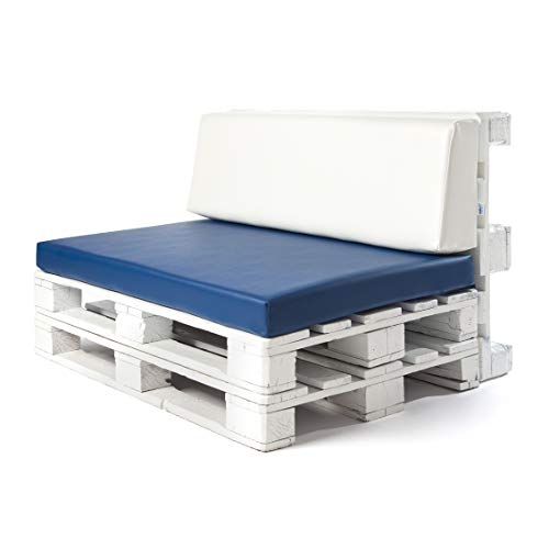 Conjunto colchoneta para sofas de palet Azul y respaldo Blanco (1 x Unidad) Cojin relleno con espuma. | Cojines para chill out, interior y exterior, jardin | No incluye palet