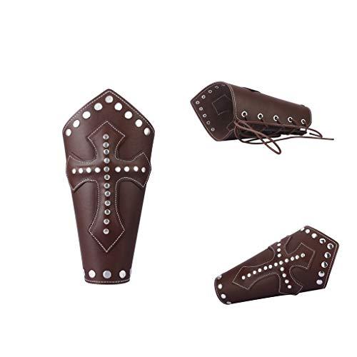 P Prettyia 2 Stücke Kreuz Metall Armband PU Leder Handschuh Armband Schnürsenkel Befestigung (Vintage Mode Und Kostüm Schmuck Verband)