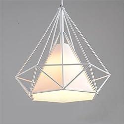 Tobaling Lustre Suspension E27 Cage en Fer Forme Diamant avec Douille Eclairage pour Décor Restaurant Salle Chambre (BLANC, S)