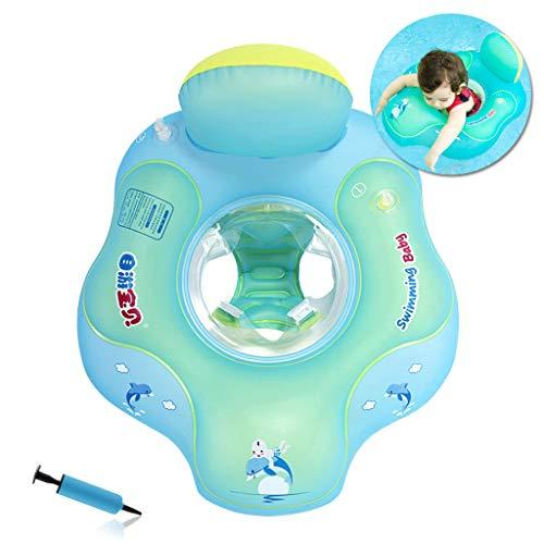 HONGCI Baby Schwimmring Baby Float Schwimmreifen mit Pumpe, Baby Schwimmen Ring Baby Schwimmhilfe Kinder Schwimmring Aufblasbarer Einstellbare Life Boje Schwimmtrainer für Baby (5-18 Monaten,S)