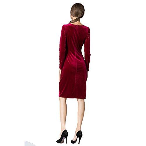 ESHOO Femme Robe a Manches Longues Mince En Velours Tour de Taille Pleuche Rouge