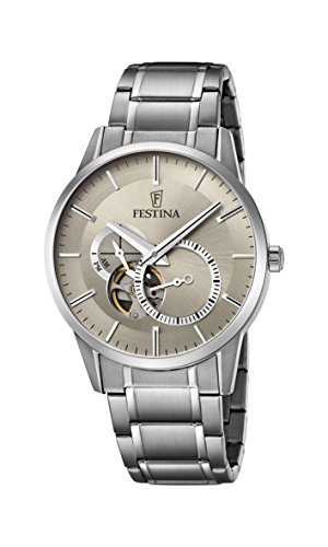 Festina Men's Automatic Watch with Beige Dial Analogue Display and Silver Stainless Steel Bracelet F6845/2