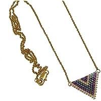 Collana perle Giappone blu iridescente lilla viola beige triangolo tessitura chevron catena in acciaio inox regali personalizzati Natale compleanno cerimonia di nozze giorno della madre coppie