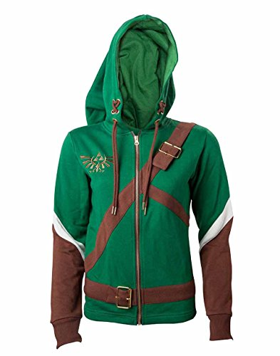 Bioworld EU Damen Nintendo Legend of Zelda Female Link Outfit Full Length Zip Hoodie Kapuzenpullover, Grün Green, 40(Hersteller Größe: Large) (Legend Of Zelda Link Kostüm Hoodie)