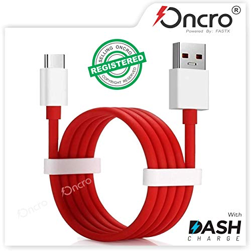 ONCRO® Compatible Dash/WARP 4/5/6A Charging Type C USB Charging Cable - Audio Converter Jack with Wire RED/Orange (Dash Cable, RED)
