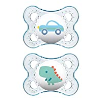 MAM Pacifiers, Baby Pacifier 0-6 Months, Best Pacifier for Breastfed Babies, 'Clear' Design Collection, Boy.