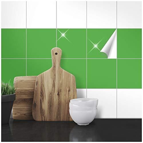Wandkings Fliesenaufkleber - Wähle eine Farbe & Größe - Hellgrün Glänzend - 15 x 15 cm - 20 Stück für Fliesen in Küche, Bad & mehr Küche Sticker