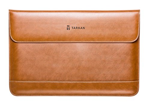Tarkan Vintage Leather Slim Sleeve Case Cover For MacBook Air 13, Pro 13 and HOT New MacBook 12 inch With Magnetic Closure (BROWN)