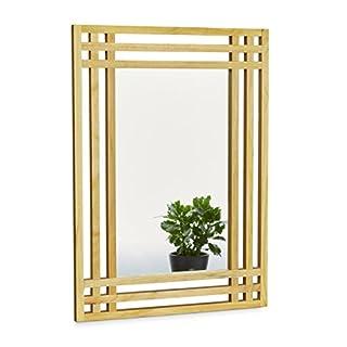 Relaxdays 10020483 Miroir en bois de pin fixation murale salle de bain couloir salon à suspendre avec cadre en bois H x l x P: 70 x 50 x 2 cm, nature