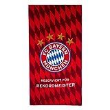 FC Bayern München Strandtuch Rekordmeister, Handtuch rot, 77x150 cm