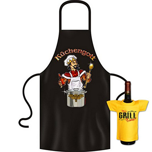 tolle bedrucke Grillschürze im Set + Mini T-Shirt Küchengott Geburtstag Geschenk Grill Schürze Kochschürze Latzschürze Partyschürze Küche Goodman Design®