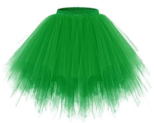 Kostüm Damen Grün M&m - bridesmay Tutu Damenrock Tüllrock 50er Kurz Ballet Tanzkleid Unterkleid Cosplay Crinoline Petticoat für Rockabilly Kleid Green M