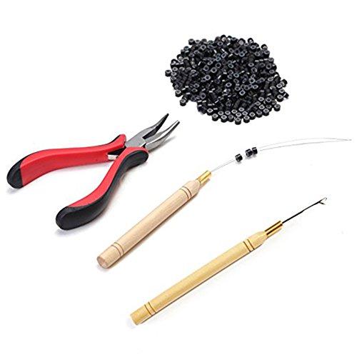 Kit per extension per capelli contenente pinza e gancio kit di perline 500 micro anelli