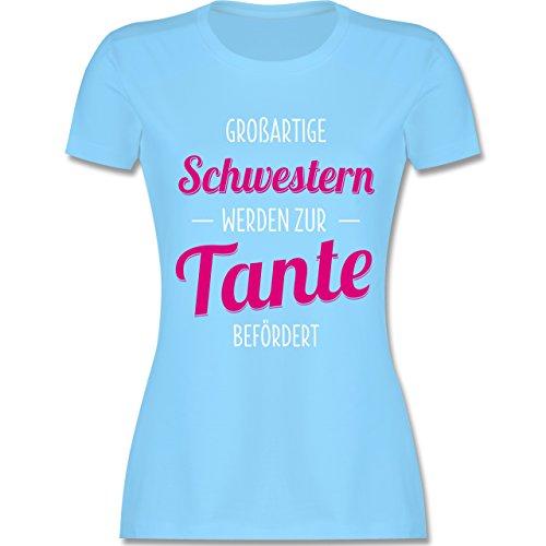 Schwester & Tante - Großartige Schwestern werden zur Tante befördert - tailliertes Premium T-Shirt mit Rundhalsausschnitt für Damen Hellblau
