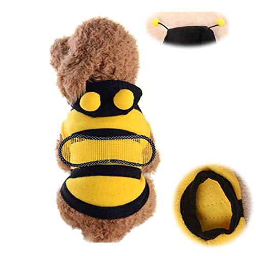 Kostüm Xl Hunde Biene - GLZKA Hund Biene Kostüm Halloween Haustier transformiert Kleid Teddy Welpen großer Hund Kleidung für Urlaub Dekoration Foto Zwei Stücke,XL