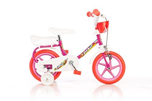 Dino Bike 101 FL Bicicletta per bambine, 2-3 anni, con rotelle, ruote plastica, con freno anteriore, Rosso