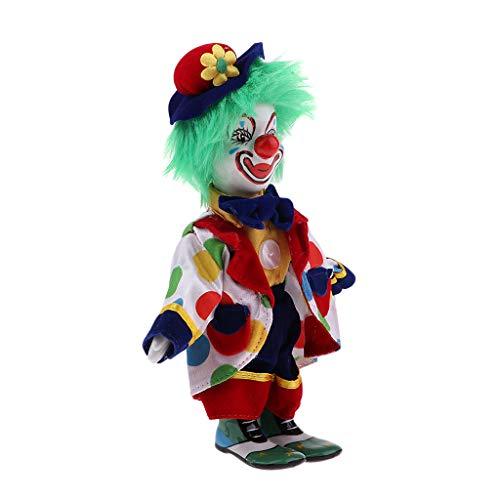 Halloween Clown Kostüm Porzellanpuppe Dekofigur aus Porzellan & Stoff Dekoration - # 4 ()