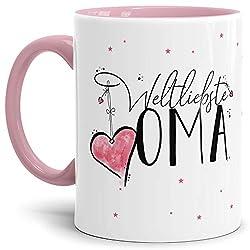 Tasse mit Spruch für die Weltbeste Oma - Kaffeetasse/Familie/Geschenk-Idee/Mug/Cup/Innen & Henkel Rosa
