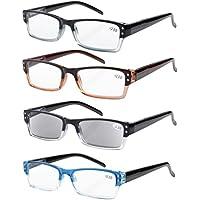 e5dc9628752 Eyekepper 4-Pack Spring Hinges Rectangular Reading Glasses Includes Sunshine  Readers