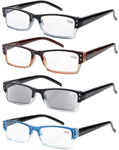 Eyekepper 4er-pack Rechteckige Lesebrille mit Federscharnieren und sonnen schützt Gläser +1.00