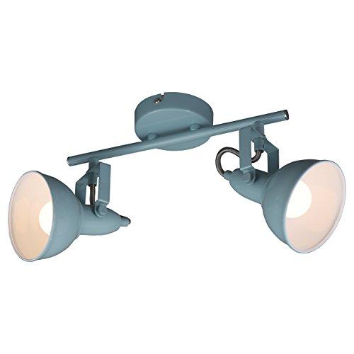 Briloner Leuchten - Deckenleuchte, Deckenlampe mit 2 dreh-und schwenkbaren Spots im retro / vintage Design, Fassung: E14 max. 40 Watt, Metall, Maße: 30.4x10x18.1 cm, Farbe: mint weiß