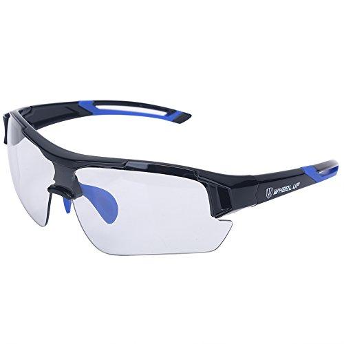 Photochrome Sonnenbrille - Unisex Sport Sonnenbrille UV Schutz Objektive Sportbrille Winddicht Fahrradbrille Mountainbike Radfahren Brille im Freien Eyewear für Männer Frauen(Blau)