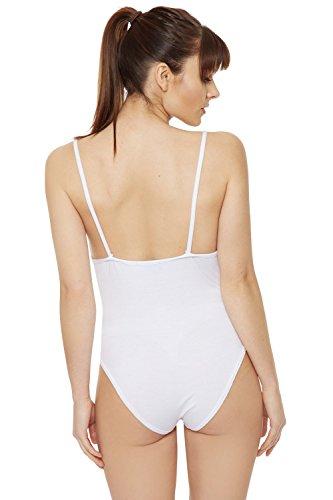 WEARALL Femmes Étendue Dentelle V Cou Lacets Camisole Gilet Haut Collant Dames Body - Hauts - Femmes - Tailles 36-42 Blanc