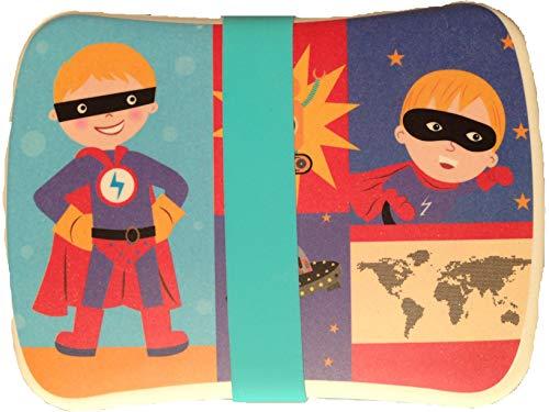 FIBERBAMBOO Fiambrera bambúInfantil Caja Sándwich Biodegradablevajilla CampingTapa bocadillos Juego Bebe niño y niña (Superhéroe)