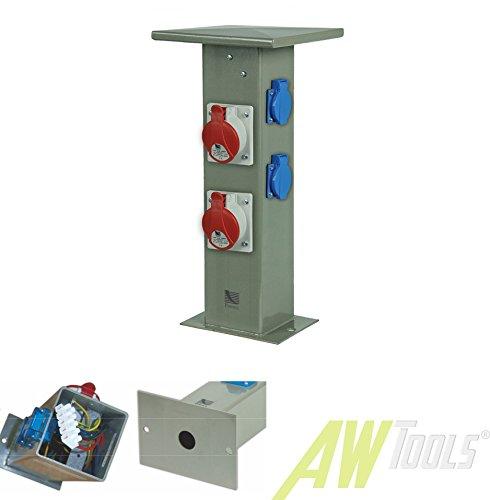 Preisvergleich Produktbild Steckdosensäule 2 x CEE16A + 2 x 230V Schuko Außensteckdose Gartensteckdose IP44