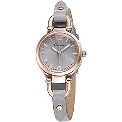 Alienwork Quartz Watch bracelet chain warp Wristwatch vintage Rose Gold Leather gray gray YH.KW545G-04