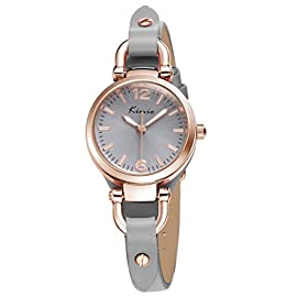 Alienwork Women Watch Watches for Ladies Girls Leather Strap Gray Analogue Quartz Rose-Gold Waterproof Vintage Elegant Small