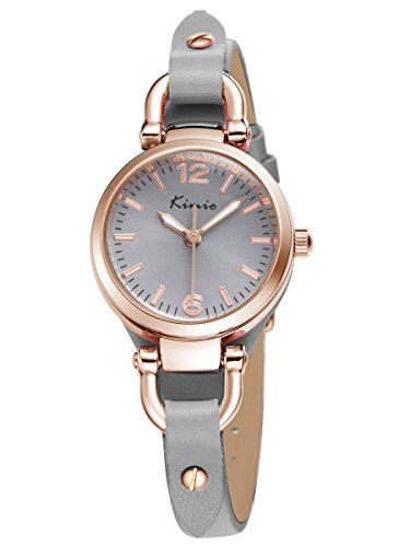 - 41LGTiPXqKL - Alienwork Quartz Watch bracelet chain warp Wristwatch vintage Rose Gold Leather gray gray YH.KW545G-04