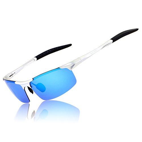 RONSOU Herren Sport Al-Mg Polarisiert Sonnenbrille Unzerbrechlich zum Fahren Radfahren Angeln Golf silber rahmen/blau linse