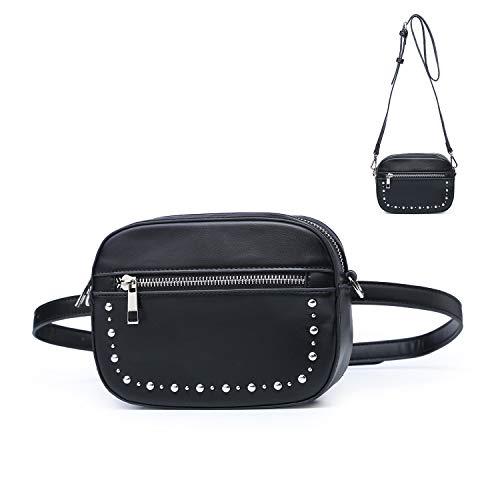Signice Gürteltasche Bauchtasche Damen Leder Klein Hüfttasche Mode Bum Bag Stylisch Fanny Pack Bauchtaschen für Frauen Schwarz (Party Fanny Pack)
